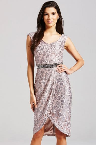 Grey Lace Bardot Dress
