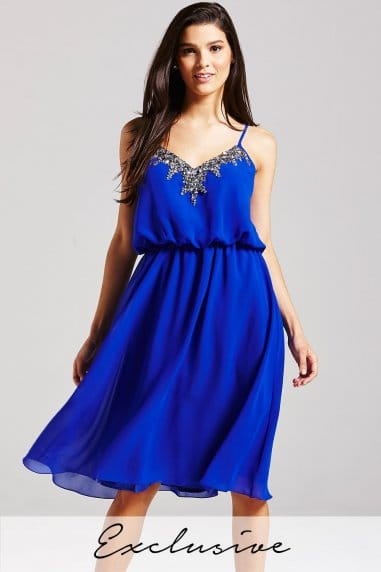 Embellished Cobalt Dress