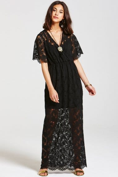 Black Layered Lace Maxi Dress