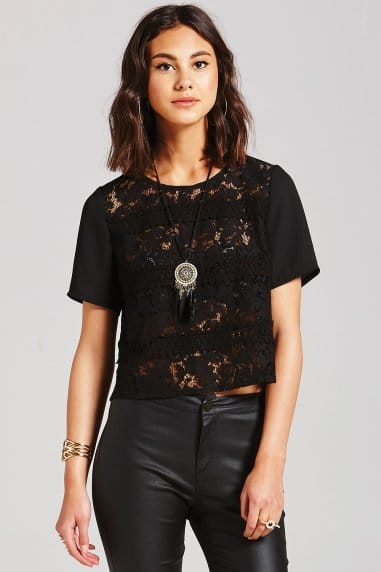 Black Stripe Lace Top