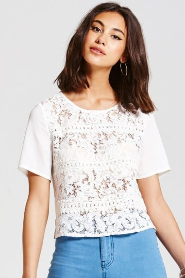 White Stripe Lace Top
