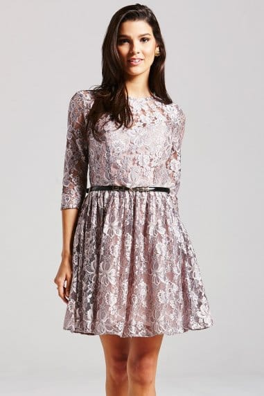 Mink Lace Skater Dress