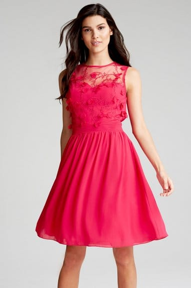 Pink Lace Top Prom Dress