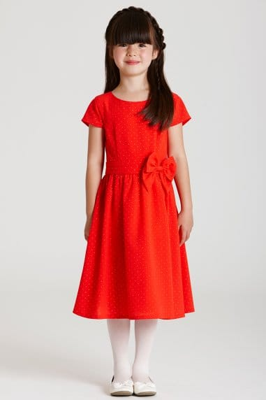 Orange Cap Sleeve Bow Waist Dress