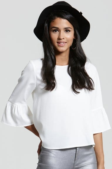 White Flared Sleeved Top