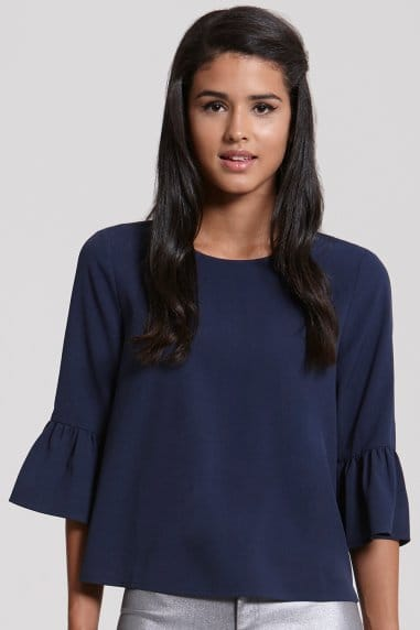 Navy Flared Sleeved Top