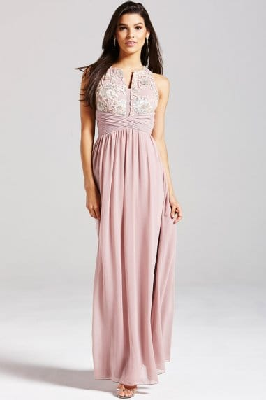 Mink Sequinned Floral Maxi Dress