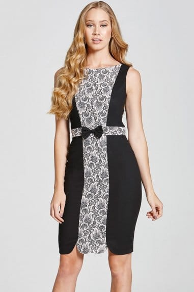 Black and Pink Lace Panel Dress
