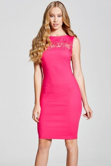 Pink Floral Applique Dress