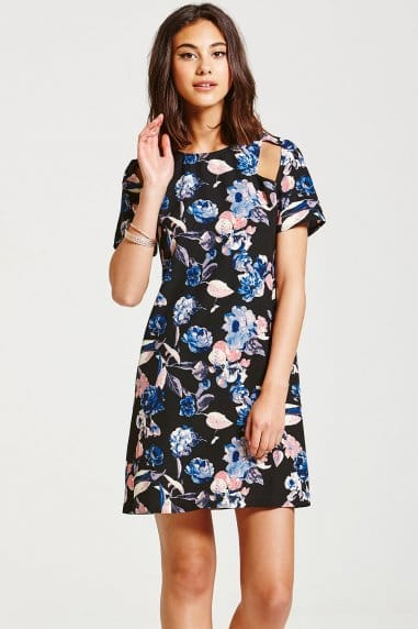 Dark Floral Cut Out Dress