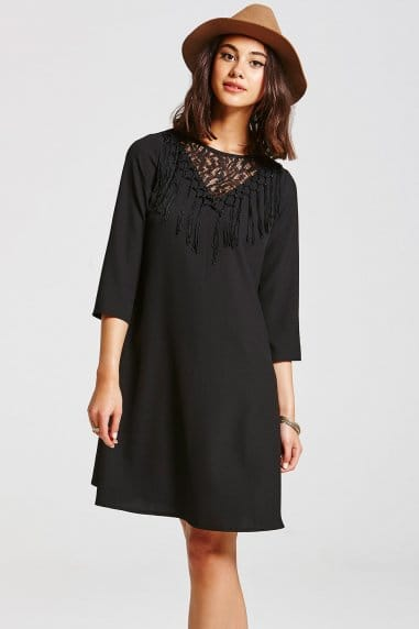 Black Fringe Front Dress