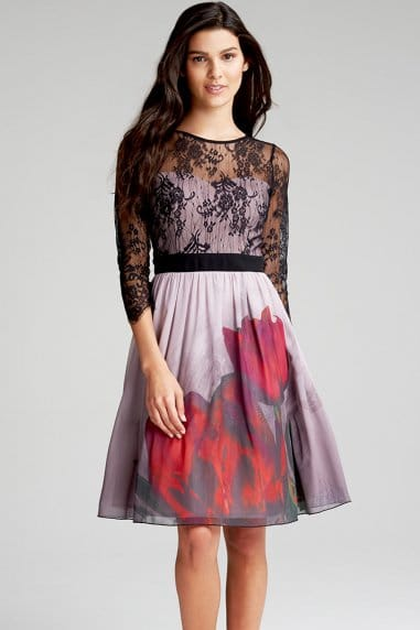 Lace and Print Dress