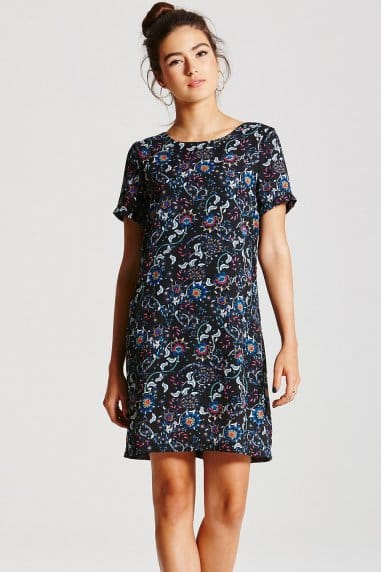 Dark Floral Print Tunic Dress