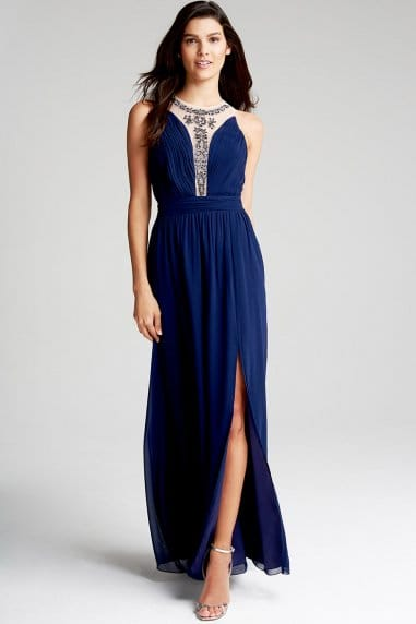 Navy Embellished Mesh Maxi Dress