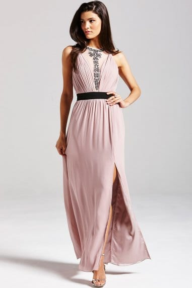 Mink Embellished Mesh Maxi Dress