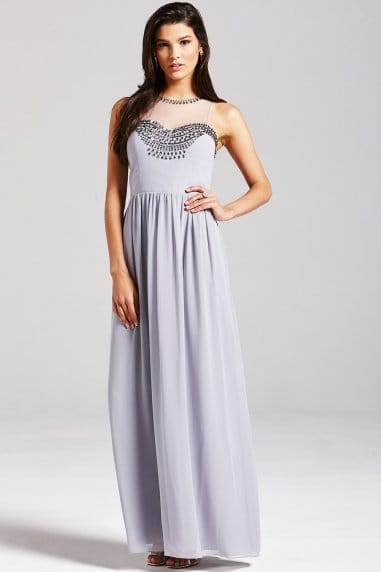Grey Embellished Mesh Maxi Dress