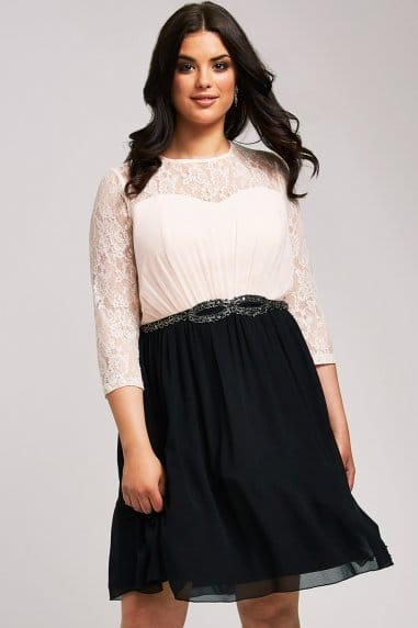 Cream and Black Lace Prom Dress