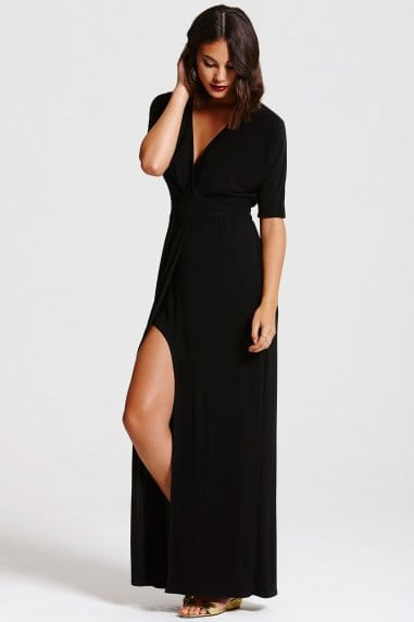 Black Split Hem Maxi Dress
