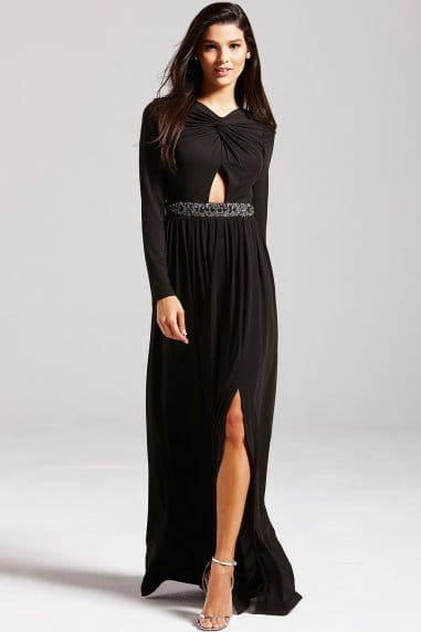 Black Embellished Cut Out Maxi Dress
