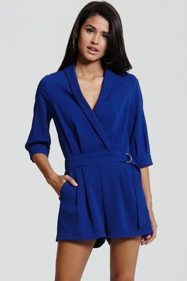 Blue V Neck Playsuit