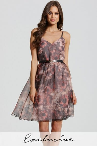 Floral Print Strappy Prom Dress