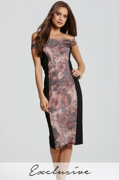 Floral Print Bardot Bodycon Dress