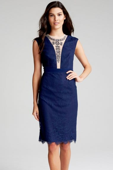 Navy Lace Embellished Wiggle Dress