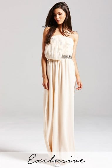 Nude Embellished Drape Maxi Dress