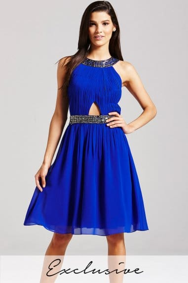 Blue Embellished Cut Out Dress