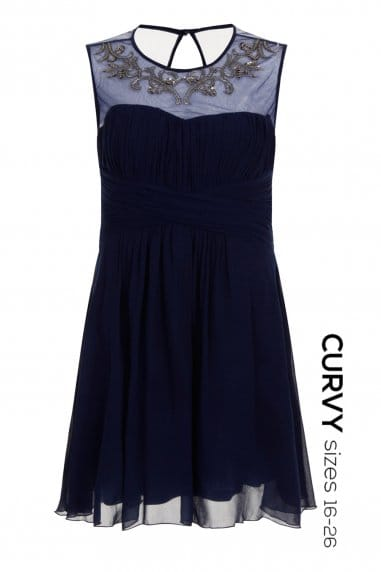 Navy Mesh Embroidered Dress