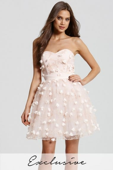 Nude Floral Applique Mini Prom Dress