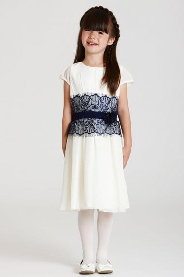 White and Navy Lace Dress