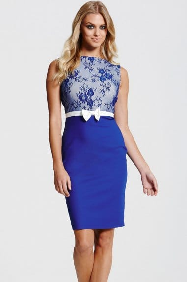 Blue and White Lace Top Dress