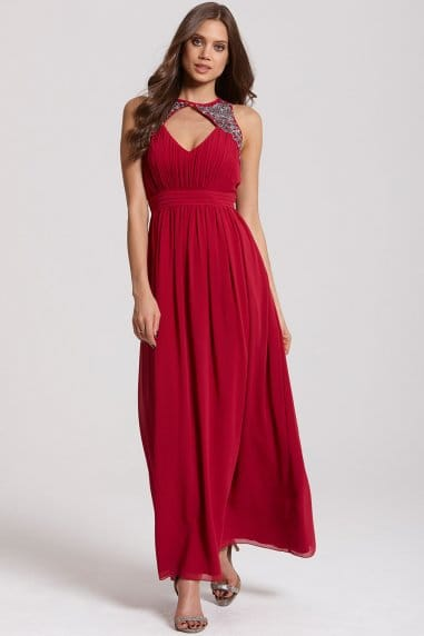 Cherry Split Maxi Dress
