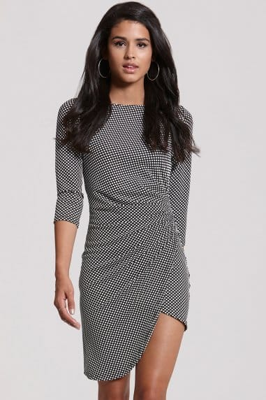 Monochrome Polka Dot Bodycon Dress
