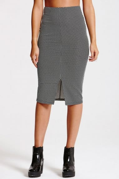 Monochrome Polka Dot Midi Skirt