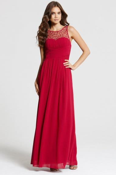 Berry Embellished Detail Maxi Dress