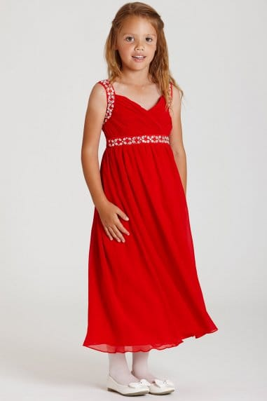 Red Chiffon Maxi Dress