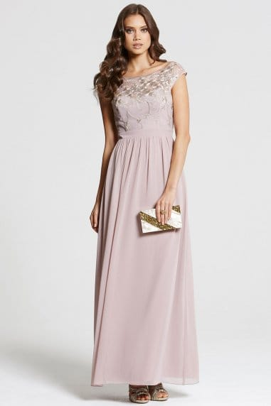 Mink and Gold Embellished Maxi Dress