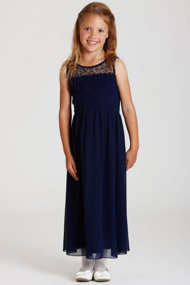 Navy Embellished Neck Maxi Dress