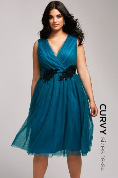 Teal and Black Fit and Flare Dress