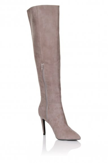 Grey Microfiber Knee High Point Toe Boot
