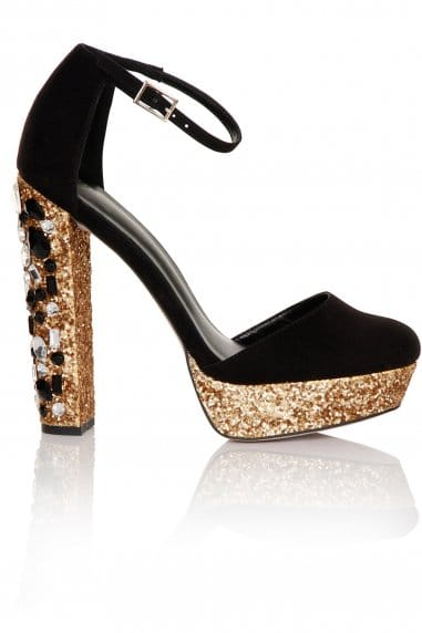 Black and Gold Mary Jane Glitter Platform