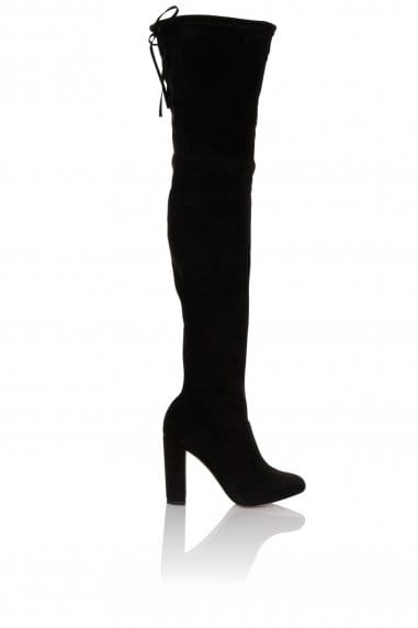 Black Knee High Tie Back Boot