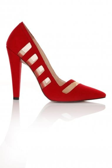 Red Mesh Insert Court Heel