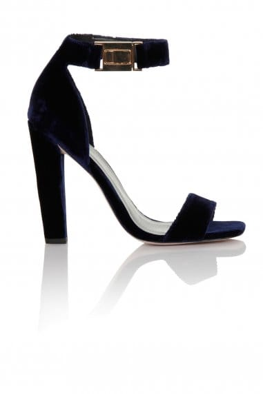 Navy Velvet Ankle Buckle Open Toe