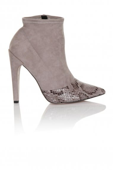 Grey Snake Toecap 'Sock' Pull on Ankle Boot