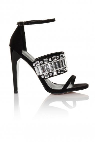 Black/Clear Thick Strap with Peep Toe