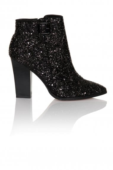 Black Glitter Ankle Boot