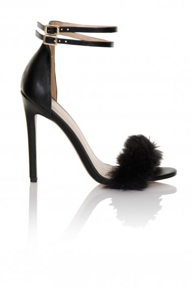 Black Fur / Double Ankle Strap Heel
